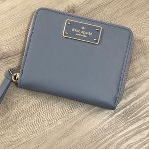 Kate Spade Darci Nylon Bifold Zip Wallet Blue